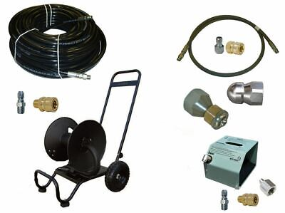 Sewer Jetter Kit - Hd Foot Valve 150 X 38 Hose Reel And Nozzles