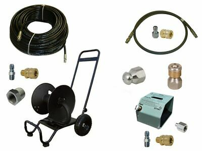 Sewer Jetter Cleaner Kit - Hd Foot Valve 200 X 14 Hose Reel And Nozzle