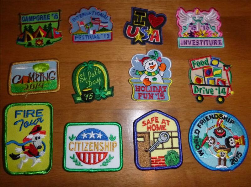 Boy Girl LOT of 12 FUN PATCHES CREST Badges Scouts camping Investiture Fire Tour