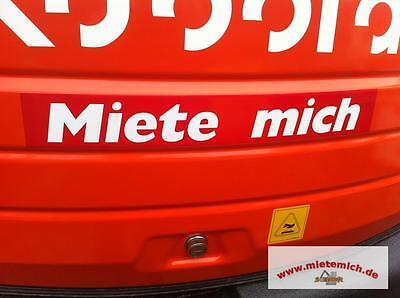 Miete mich Aufkleber 35x5cm.Rot/Weiss Mietmaschinen Anhänger Baumaschinen Bagger