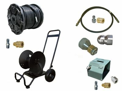 Sewer Jetter Cleaner Kit - Hd Foot Valve 200 X 38 Hose Reel And Nozzles