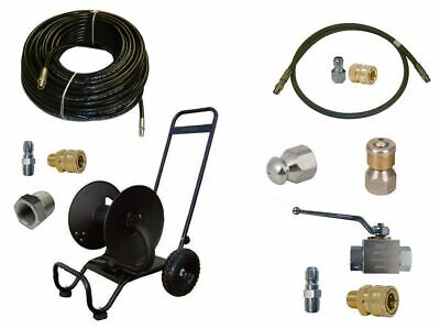 Sewer Jetter Cleaner Kit - Ball Valve 200 X 14 Hose Reel And Nozzles