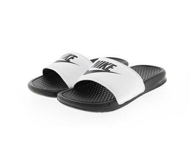 Nike 343880-100: Benassi Mens White Black Sandal
