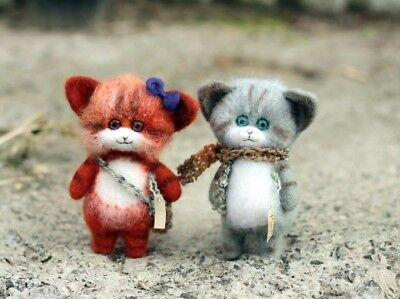 Needle Felted Animals Couple Cats 100% Natural Wool Made to Order