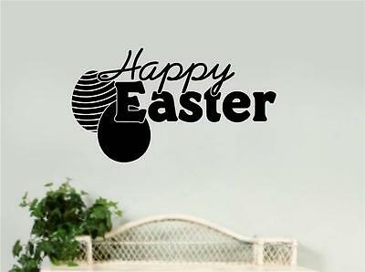 Easter Wall Decorations (Happy Easter Vinyl Decal Wall Stickers Words Lettering Kitchen Home)
