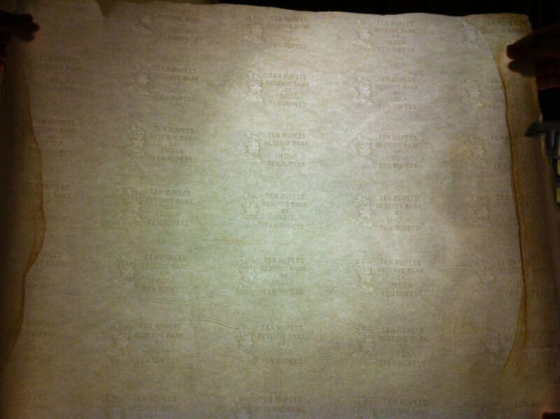 British India 10 Rupees George VI - Shipwreck Watermark Paper Uncut Sheet