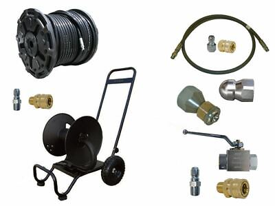 Sewer Jetter Cleaner Kit - Ball Valve 200 X 38 Hose Reel And Nozzles
