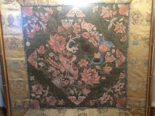 ANTIQUE 19th c QI'ING CHINESE FINE EMBROIDERED SILK PANEL FRAMED EMBROIDERY!
