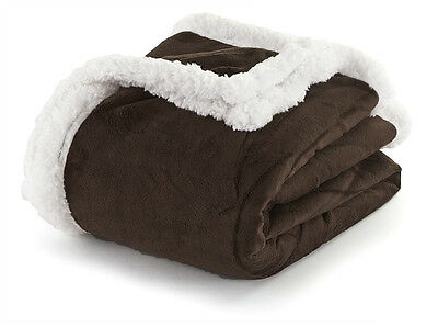 Dark Chocolate Brown and White Sherpa Plush Fleece Throw Blanket: Reversible Dark Chocolate White Chocolate