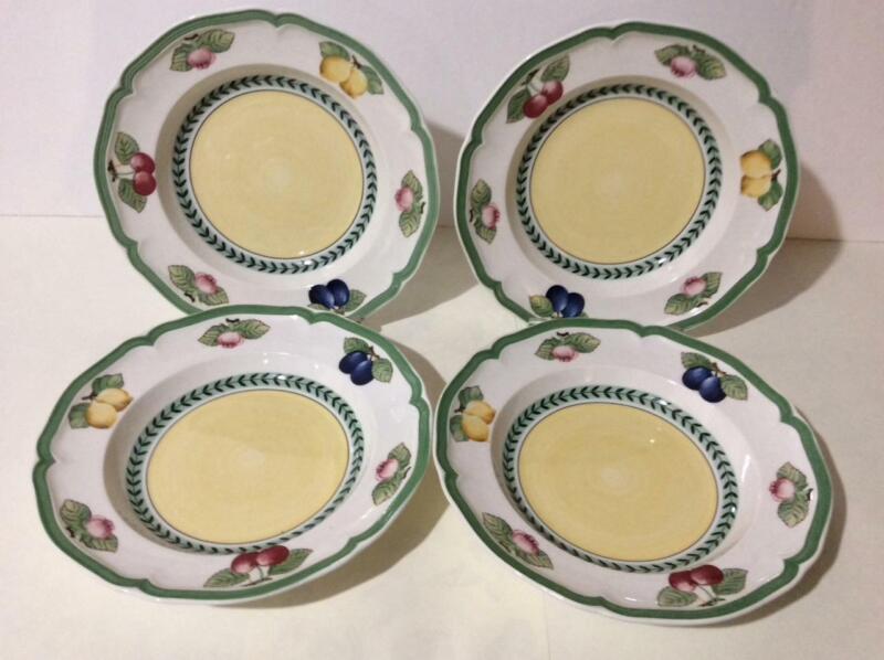 "NWT Villeroy & Boch French Garden Fleurence (4) 9"" Lg Rim Soup Bowls"