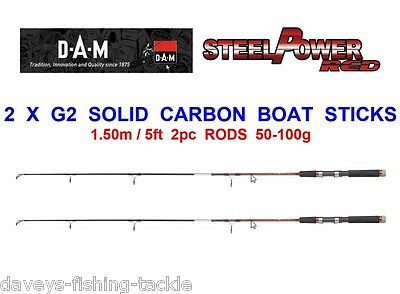 2 DAM STEELPOWER RED G2 SOLID CARBON 2pc BOAT STICKS FOR CANOE KAYAK ROD FISHING
