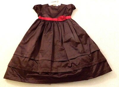 Gymboree Holiday Traditions Chocolate Brown Satin Christmas Dress 12 (Brown Christmas Holiday Dress)