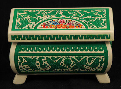 Mexican Wood Trinket Box Hand Crafted Collectible Folk Art Decorative Green