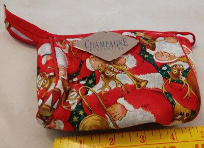 Champagne Collection Retro VTG Santa Claus Xmas Small Bag Makeup Jewelry Travel - Santa Claus Makeup