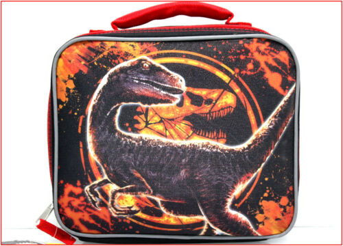 JURASSIC World Insulated LUNCH BOX Bag Tote - T-REX Dinosaur - Black Red 🌟NEW🌟