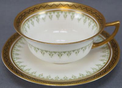 Royal Doulton E831 Green , Gold & Black Porcelain Tea Cup & Saucer C 1902 - 1930