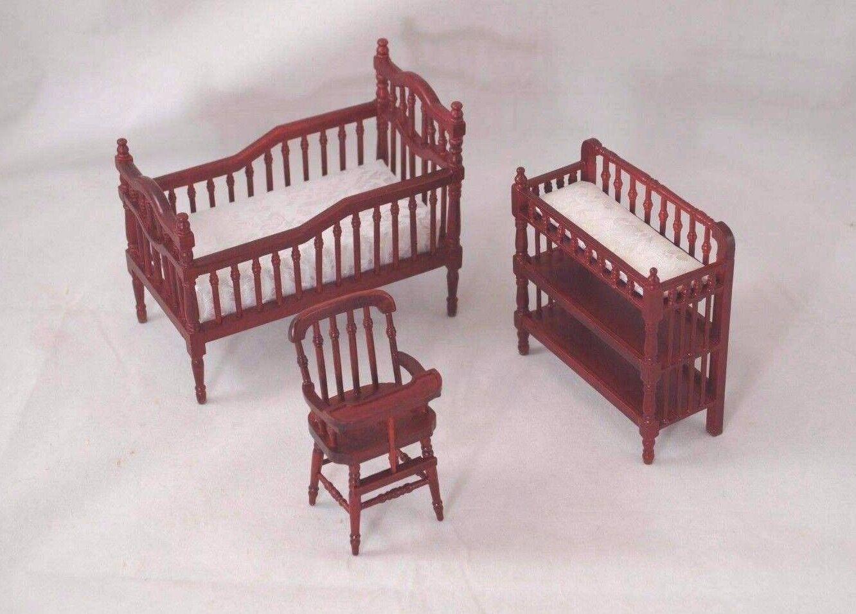 nursery baby room set mahogany finish dollhouse