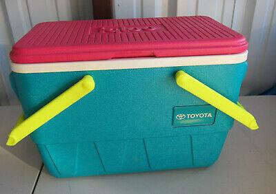 Vintage IGLOO Picnic Basket Cooler Teal Neon Pink Yellow Handles1992 TOYOTA Logo