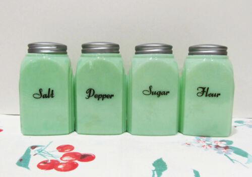 McKee Jadite Glass Roman Arch Salt Pepper Flour Sugar Shakers Set REPRODUCTION