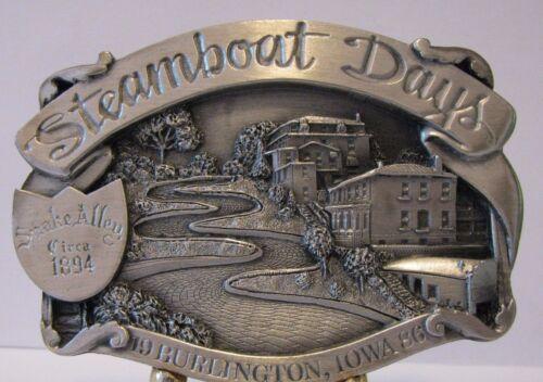 1986 Steamboat Days Burlington Iowa Snake Alley Street Pewter Belt Buckle Ltd Ed