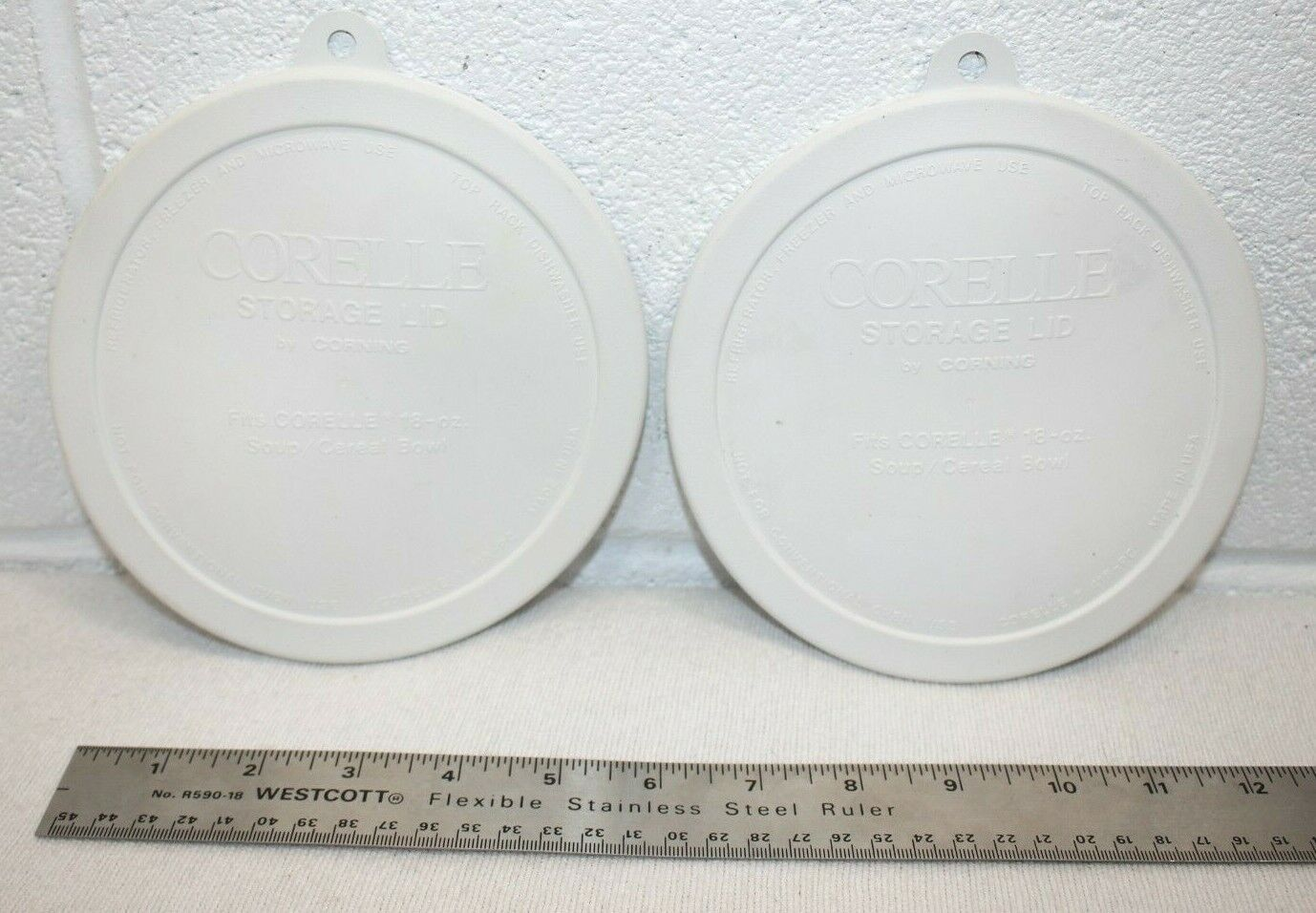 Lot Of 2 CORELLE LIDS ONLY CORNING - Fits18 Oz Soup/Cereal Bowl White 418-PC - $4.95