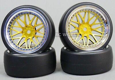 RC 1/10 DRIFT WHEELS TIRES Package 9MM Offset GOLD W/ CHROME Lip 3 Piece