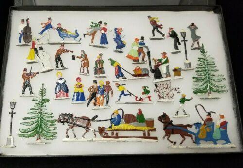 Vintage Hans Heinrichsen German Tin Hinsch Lead Flats Winter Skating Set of 27
