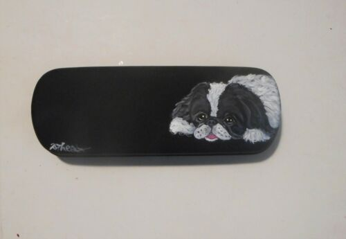 Japanese Chin dog Hand Painted Eyeglass Glasses Case