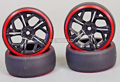 1/10 RC DRIFT WHEELS Package 3MM Offset BLACK CUT W/ RED Color Rings