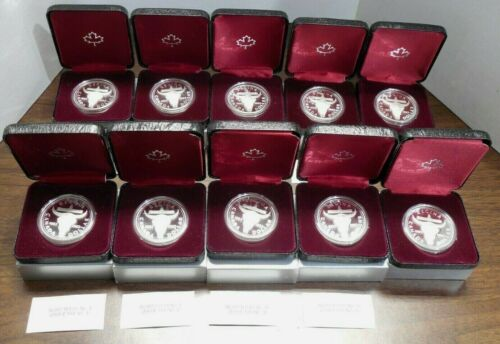 Lot of 10- 1982 - Canada .500 Silver Proof Dollars - Regina Centennial -In Boxes