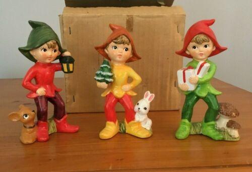 Vintage Ceramic Christmas Elves Pixies Gorgeous Bright colors