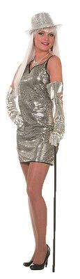 Disco Paillettenkleid in silber NEU - Damen Karneval Fasching Verkleidung Kostüm