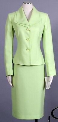 EVAN-PICONE Lime Sz 12 Women's Poly Skirt Suit $200 New