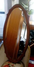 "Retro oval wooden framed mirror 39""x 19"""