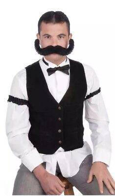 Jumbo BLACK HAIR Moustache Mustache Cowboy Costume Handlebar Curled Ends Mens - Giant Mustache Costume