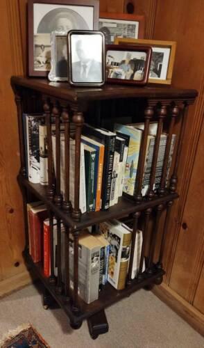 Antique Mahogany 2 Tier Revolving Swivel Victorian Style Bookcase c1890s