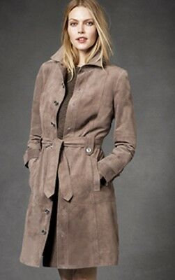 Worth New York Maple Brown Tan Leather Suede Coat Dress NEW NWT $898 Sz M (Maple Coat)