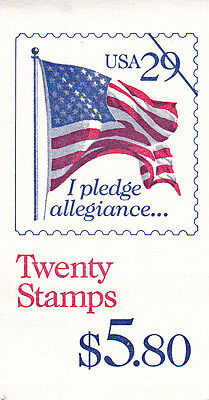 U.S. BOOKLET OF 20  SCOTT#BK196 1992 29ct FLAG & PLEDGE MINT P#1111 UNDER FACE