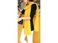 Ladies 215cm Long Soft Stretchy Fringeless Knit Vibrant Yellow Scarf.