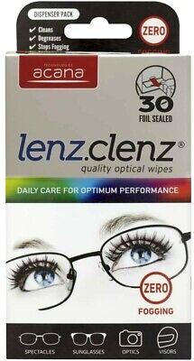 30 x Acana Optical Glasses Anti Fogging Wipes Non Smear Lenz Clenz...