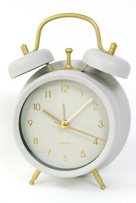 Grey Alarm Clock retro design Metal with glass front and gold Numbers...