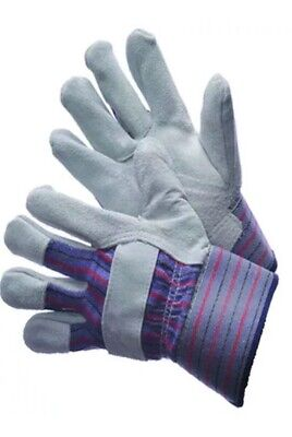 2 Pair Economy Men Leather Work Split Gloves Palm Glove Reinforced Fits All