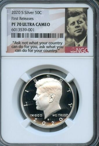 2020 S Silver Kennedy 50C First Releases NGC PF70 Ultra Cameo Portrait