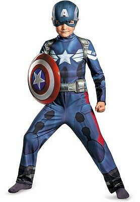 Boys Captain America Costume Winter Soldier Outfit Avengers Child Kids LARGE NEW (Kids Captain America)