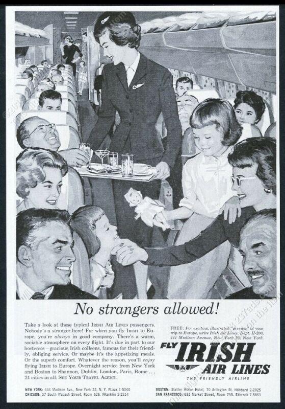 1960 Aer Lingus Irish Airlines stewardess on plane art vintage print ad