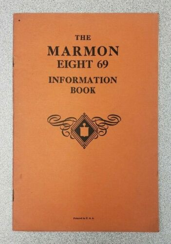 1930 Marmon 69 Information Book Owners Manual