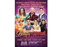 3 tickets for Christmas panto Saturday 22nd December. BEAUTY AND THE BEAST, 2.30pm in New Theatre