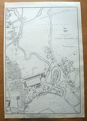 LONDON, BLACKWALL,POPLAR,CANNING TOWN Original antique map c1860