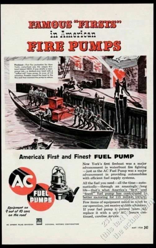 1954 New York City first fireboat 1800s art AC Fuel Pumps vintage print ad