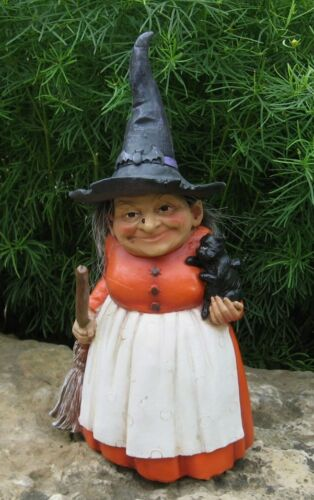 Halloween Folk Art WITCH Figurine*Black Cat*Broom*Bat Hat*Primitive Fall Decor